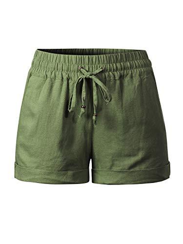 (Design by Olivia Women's Drawstring Elastic Waist Casual Comfy Cotton Linen Beach Shorts Olive 2XL)