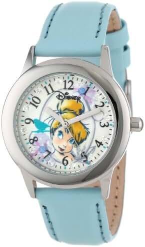 Disney Kids' W000991 Tween Tinker Bell Glitz Stainless Steel Light Blue Leather Strap Watch