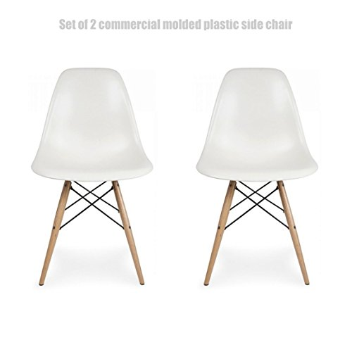 Classic Vintage Style Dining Chair Molded Plastic Flexible Backs Support Deep Seat Pockets Straight Wooden Dowel Legs Innovative Side Chair - Set of 2 White #1444 (Furniture Sale Clearance Outdoor Nz)