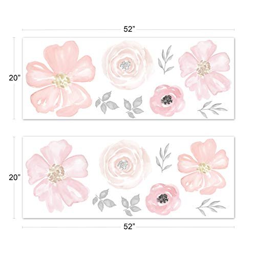 Sweet Jojo Designs Blush Pink, Grey and White Large Peel and Stick Wall Mural Decal Stickers Art Nursery Decor for Watercolor Floral Collection - Set of 2 Sheets by Sweet Jojo Designs (Image #1)