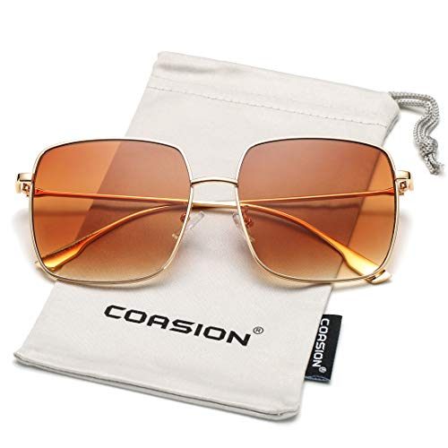 COASION Oversized Fashion Square Sunglasses for Women Designer Metal UV400 Sun Glasses (Gold Frame/Gradient Brown Lens)