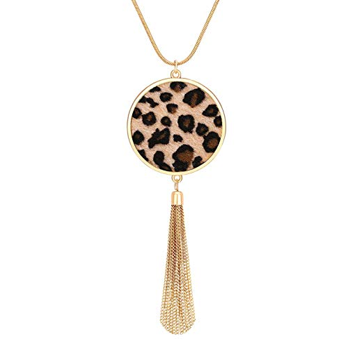 PHALIN Long Necklace for Women Leopard Quatrefoil Pendant Necklace Bohemia Fringe Tassel Necklaces Y Chain Necklace Fashion Jewelry (B Leopard Disc)