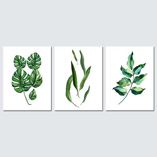 Pyradecor Green Leaves Canvas Prints Wall Art Abstract Watercolor Pictures Paintings for Living Room Bedroom Home Decorations 3 Piece Modern Stretched and Framed Grace Floral Giclee Artwork by Pyradecor