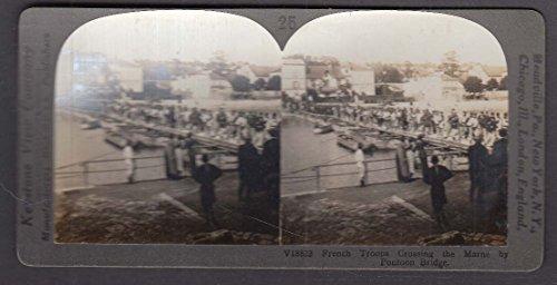 French Troops Crossing Marne by Pontoon Bridge WWI Keystone stereoview - Crossing Keystone