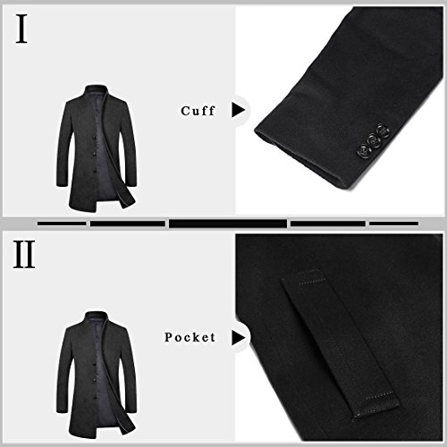 APTRO Men's Wool French Front Slim Fit Long Business Coat 1681 DZDY Black M by APTRO (Image #3)