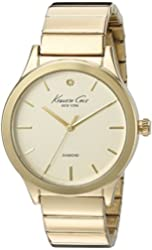 Kenneth Cole New York Women's 10025948 Genuine Diamond Analog Display Japanese Quartz Gold Watch