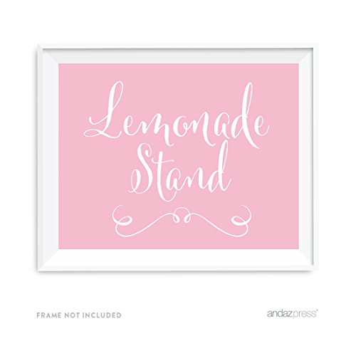Andaz Wedding Party Signs, Blush Pink, 8.5x11-inch, Lemonade Stand Reception Dessert Table Sign, 1-Pack]()