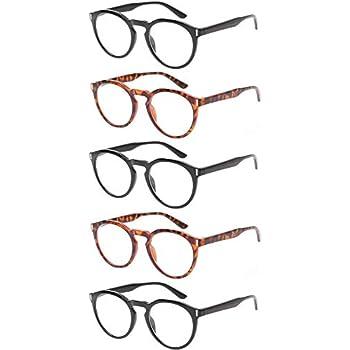 baf8f08d4b6 Reading Glasses 5 Pack Fashion Large Round Readers Quality Spring Hinge  Glasses for Reading (3Black