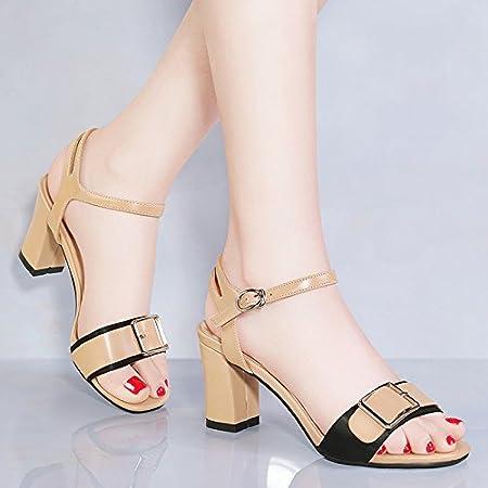 RUGAI-UE Rough heel sandals with rough heel sandals