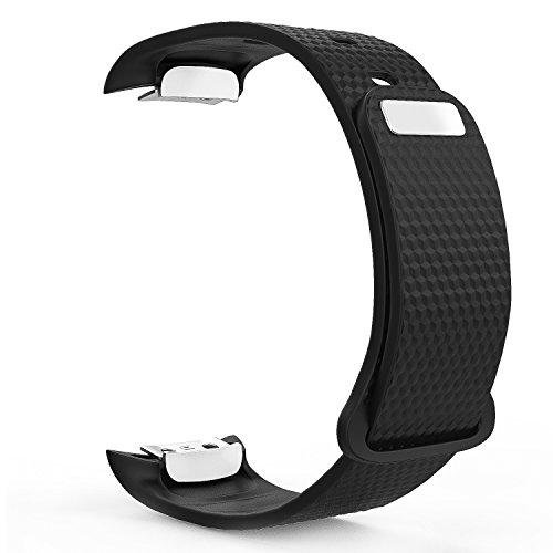 MoKo Samsung Gear Fit II Armband - Silikon Sportarmband Sport Band Uhrenarmband Erstatzband mit Stiftschließe aus Edelstahl für Samsung Gear Fit II Smartwatch, Schwarz (3 St. Armbänder für 2 Längen)