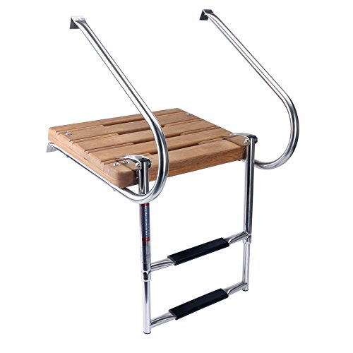 Inboard Teak Boat Swim Platform Stainless Steel Two Rail 2 Step Ladder New