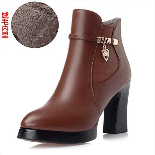 HOESCZS Frauen Schuhe High High High Heels Damen Baumwolle Stiefel Komfortable Runde Kopf Einfarbig Martin Stiefel Niedrige Röhre Dünn Mit Rutschfeste Nackte Stiefel Frauen bab9b9
