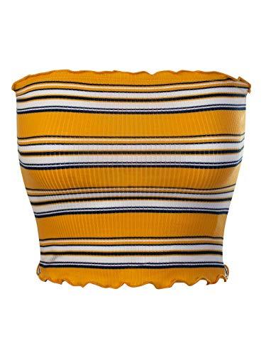 MixMatchy Women's Striped Print Ruffled Edge Crop Tube Top Mustard L (Womens Tube Tops)