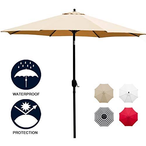 Sunnyglade 11Ft Patio Umbrella Garden Canopy Outdoor Table Market Umbrella with Tilt and Crank (Tan) (Patio Umbrella 11)