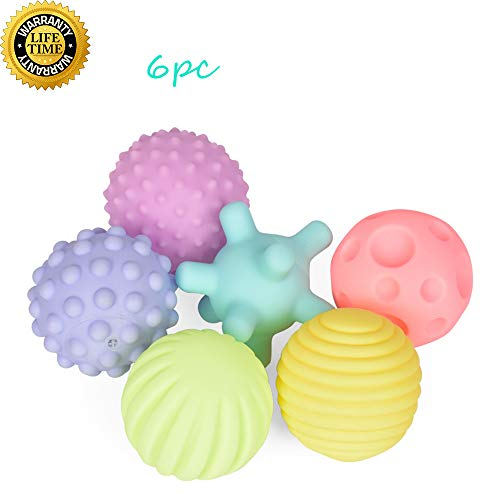 Wekity Bath Toy, Sensory Balls for Toddler 6pc Mini Balls Set Different Textures and Shapes & Voiced Stimulate Vision and Auditory Sense Colorful Puzzle Game for Baby Swim Toys (Colorful)