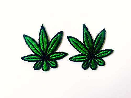 (Tyga_Thai Brand Set 2 pcs. Mini Green Cannabis Marijuana Leaf Jacket T-Shirt Sew Iron on Embroidered Applique Badge Sign Patch (Iron-Cannabis-Marijuana-Leaf) )