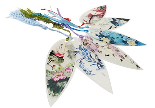 Set Of 6 Pieces Natural Eco-friendly Handmade Leaf Vein Bookmarks With Flowers Theme For Kids School Study Decoration Souvenirs Business Christmas Bir…