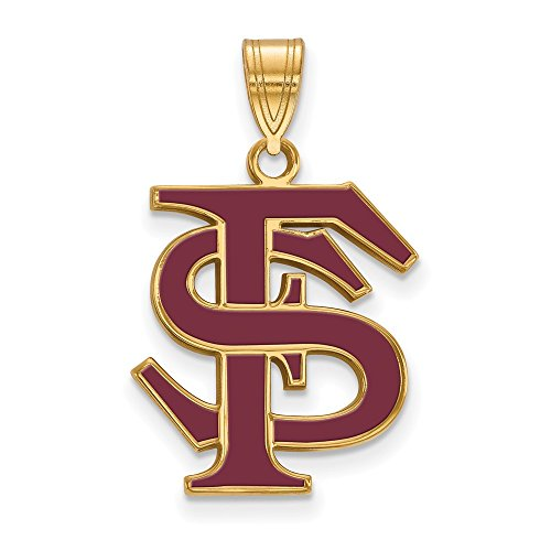 Sterling Silver w/14K Yellow Gold-Plated LogoArt Official Licensed Collegiate Florida State University (FSU) Large Enamel Pendant by LogoArt
