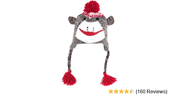 e262c1a7b6e2f Amazon.com  TG Adult Size Sock Monkey Knit Hat with Poly-Fleece Lining   Toys   Games