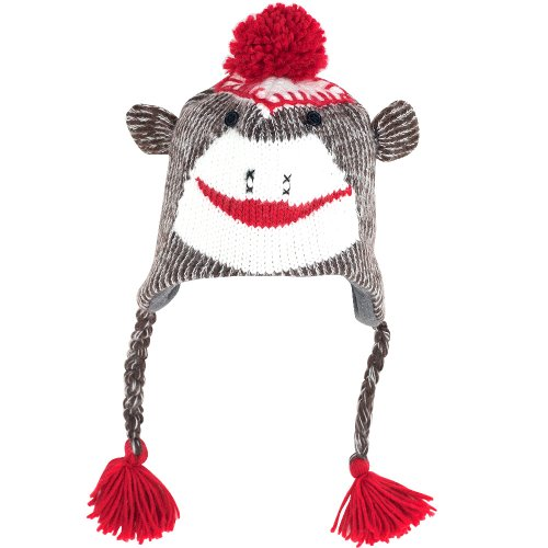 TG Adult Size Sock Monkey Knit Hat with Poly-Fleece Lining (Woven Kids Socks)