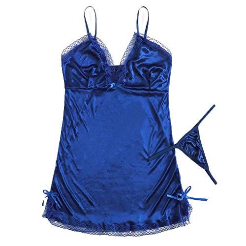 HYIRI Daily Bra Set Lingerie Corset Lace Underwear for Women Bodysuit Sexy Lingerie Nightwear Sling Bodysuits Blue]()