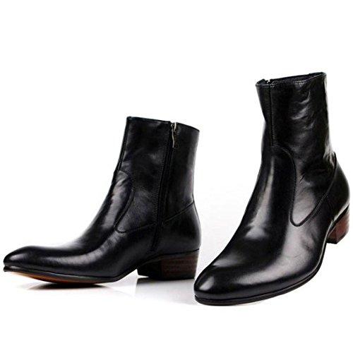 Jinfu Mens Cuir Noir Bout Rond Glissière Latérale Chelsea Bottines Hiver Chaud Chaussures Daffaires