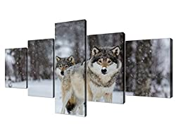 Yatsen Bridge Wolf Painting on Canvas 5 Piece Modern Landscape