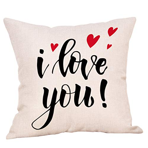 Saitingdianzi Happy Mother's Day Cotton Linen Home Decorative Throw Pillow Case Cushion Cover with Words for Sofa Couch 18 x 18 inch (H, 45 x 45cm) ()