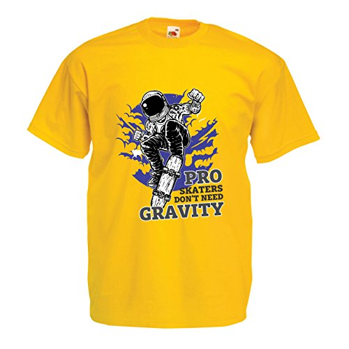T Shirts For Men Pro Skaters Don't Need Gravity - Skateboard Sayings, Skate Life Quotes (X-Large Yellow Multi Color)