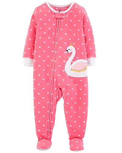 Carter's Baby Girl's 12M-5T One Piece Fleece Pajamas, Swan, 24 Months