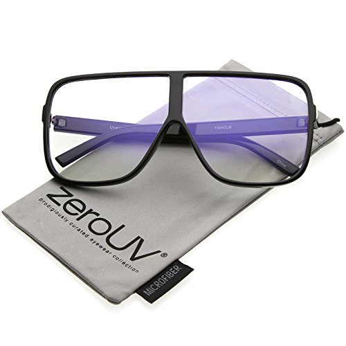zeroUV - Oversize Thick Flat Top Frame Super Flat Clear Lens Square Eyeglasses 69mm ()