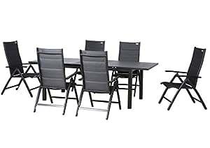 """'Siena Garden de 7piezas Lujo aluminio Padded tejido muebles de jardín grupo """"Taupo"""", 6TÜV getestete y acolchada silla plegable """"Detroit Plus"""" y un mesa extensible """"Miros 180/240x 90con spray Stone placa, antracita, Doppler"""