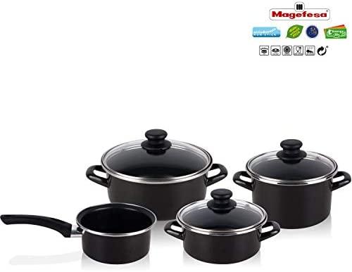 Magefesa - Bateria de cocina 7 piezas + Set Juego 3 Sartenes 18-20-24 cm, antiadherente libre de PFOA, limpieza lavavajillas apta cocinas, ...