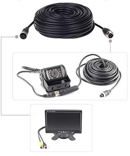 Cable de extensi/ón de aviaci/ón de 4 Pines cami/ón HUACANG Furgoneta 10 m c/ámara de visi/ón Trasera para Monitor de 4 Pines Impermeable Remolque