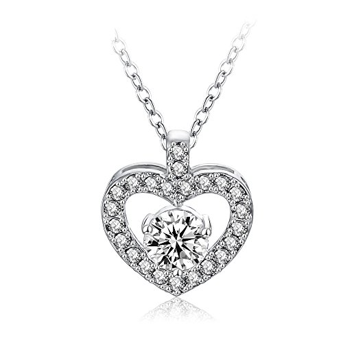 Kida Costume Diy (Platinum-Plated Sterling Silver Round-cut Cubic Zirconia Open Heart Pendant Necklace for Women)
