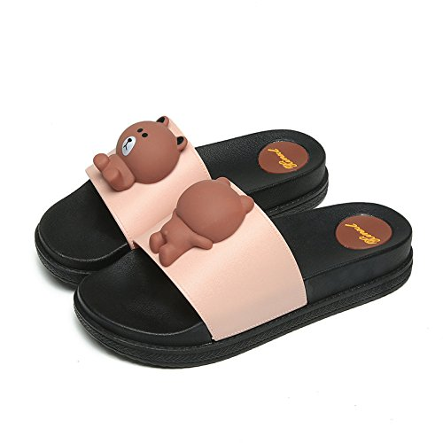 Outdoor Bear Brown Pink 36 Indoor Ms Tridimensionale Beach Slippers HONG A Moda Ms Signore Alto Black Tacco JIA Orso 37 D'estate ZPBwa4Cnq