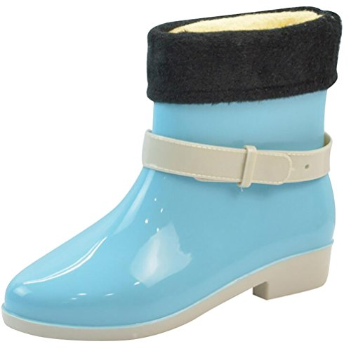 LvRao Women's Waterproof Cute Snow Rain Shoes Low Ankle Rubber Booties Short Rainboots Blue with Lining yRrF45