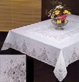 Tablecloth Placemats Set, Vinyl Lace 54 X 72 Inches Rectangular Table Cloth and 8 Matching Placemats, White: