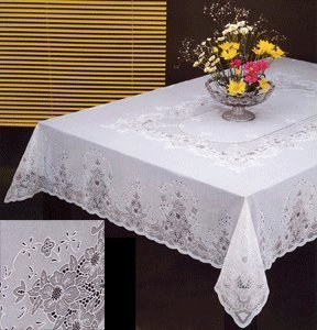 Tablecloth, Heavy Vinyl Lace With Full Vinyl Backing, Easy Care (60x90  Inches Rectangular