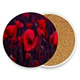 Red Poppies Blossom Wild Coasters, Protection for Granite, Glass, Soapstone, Sandstone, Marble, Stone Table - Perfect Drink Coasters,Round Cup Mat Pad for Home, Kitchen or Bar 1 piece