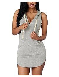 Cfanny Women's Sexy V Neck Cotton Hoodie Mini T-shirt Casual Dress