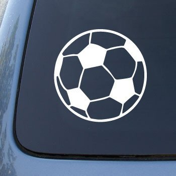 Keen Soccer Ball - Football - Die Cut Vinyl Car Decal Sticker for Car Window Bumper Truck Laptop Ipad Notebook Computer Skateboard Motorcycle | Premium White Vinyl | 5 in (Soccer Window Decal)