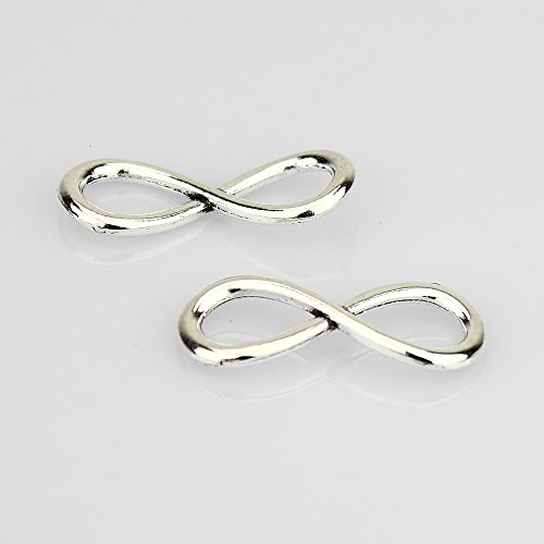 LolliBeads (TM) One Direction Infinity Charm Pendant Connector Link Silver Tone (20 Pcs)