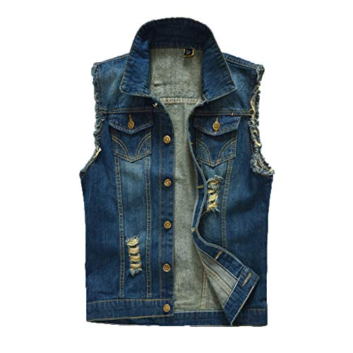 ONLYTOP_Clothing Denim Vest,ONLYTOP Men's Casual Button Up Slim Denim Vest Sleeveless Ripped Jean Waistcoat Jacket - Nozzle Cable Feeder