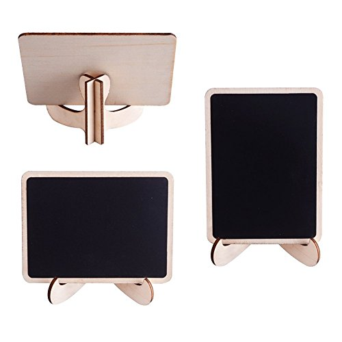 Mini Chalkboards Signs with Easel Stand Wood Blackboard for Message Board Wedding Party Table Numbers, Rectangle Set of 10 Photo #6