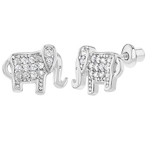 Rhodium Plated Clear Elephant Prosperity Screw Back Earrings 10mm