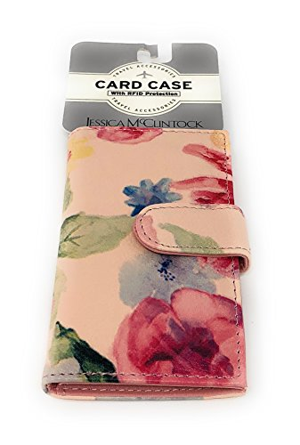 Jessica McClintock RFID Card Case | Water-Color Flowers (Leather Jessica Wallet)