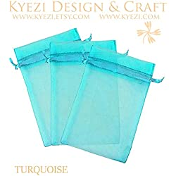 "100 pcs 3""x4"" Sheer Drawstring Organza Bags Jewelry Pouches Wedding Party Favor Gift Bags Gift Bags Candy Bags [Kyezi Design and Craft] (Turquoise)"