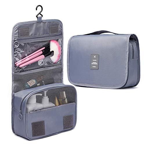 Hanging Toiletry Bag Organizer Bag with Hook and Handle Waterproof Cosmetic Bag Dop Kit for Men or Women (Gray)