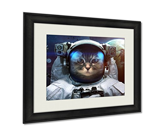 Ashley Framed Prints, Astronaut Cat In Outer Space Spacewalk Elements Of This Image Furnished By Nasa, Black, 24x30 Art, AG5821864 (Framed Astronaut)